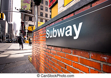 New York City Subway - Entrance to a NYC subway station at a...