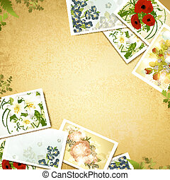 Vintage background with flower photos