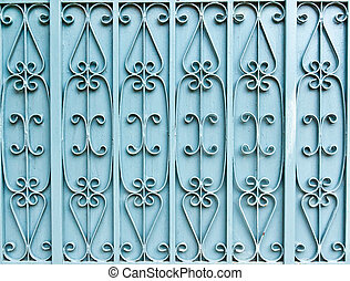 The blue iron gate in background texture