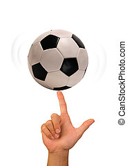 Soccerball on finger