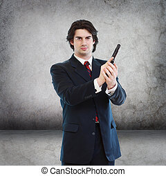 Handsome Man with a Hand Gun (agent, assassin, etc)