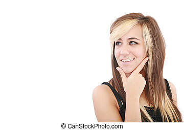 Portrait of a smiling thinking woman looking up - isolated on white