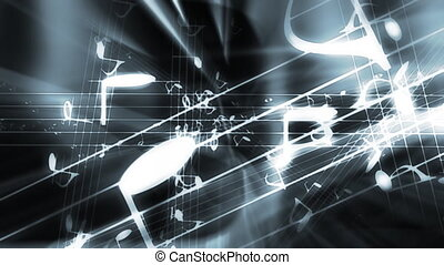 Music Madness in Gray Blue Looping Animated Background