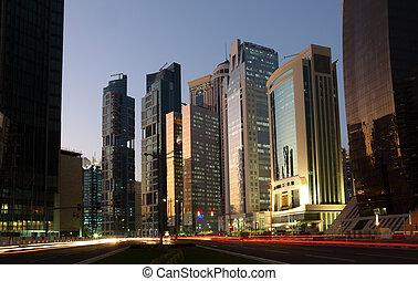 Doha downtown at dusk, Qatar. Photo taken at 9th January 2012