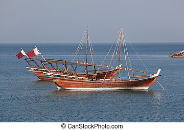 Traditional arabian dhows in Doha, Qatar