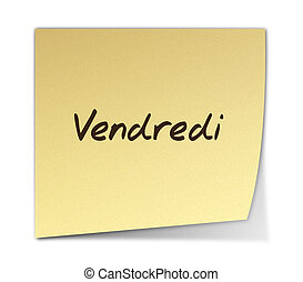 Friday in French - Color Paper Note With Friday Text in...