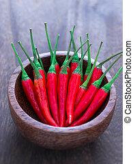 close up of a bowl of red chili padi
