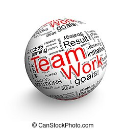 Team work ball - Business oriented words on 3d ball