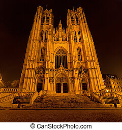 St. Michael and Gudula Cathedral - Facade of St. Michael and...