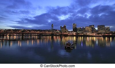 Portland Oregon City at Blue Hour - Portland Oregon...