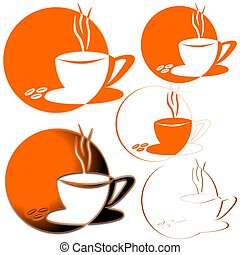 Coffe Mug - A cup of coffee on an orange background -...