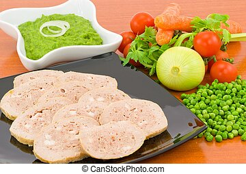 meatloaf with gravy and peas with its ingredients
