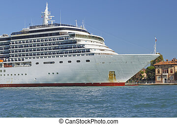 Overseas cruise ship moored in the harbor (Venice, Italy)