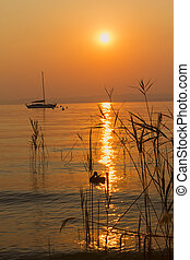 Romantic sunset on Lake Garda Italy - Roamntic sunset and...
