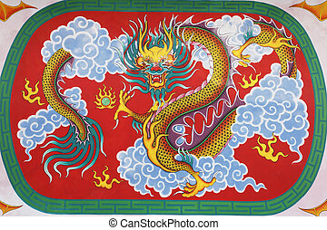 Chinese dragon at ceiling in Chinese temple - Painted scene...