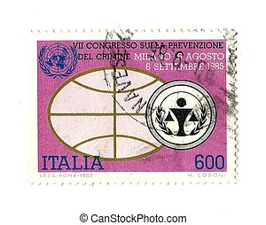 italian post stamp for Crime Prevention Conference