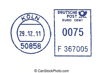 blue german postmark