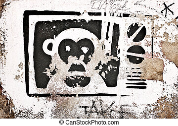graffity background with monkey in tv