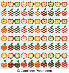 apples - Retro seamless vector pattern with apples