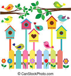 birdhouses - Collection of colorful birds and birdhouses