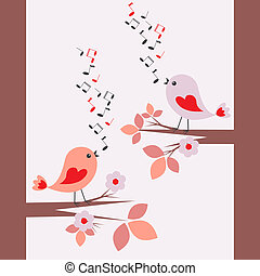 Cute birds singing .Seamless vector