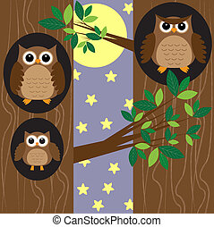 Family owls at night - Family of owls in forest at...