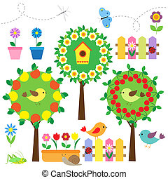 garden set - Cute garden set with birds,flowers and insects