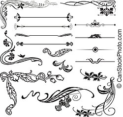 Art Nouveau corners and dividers - Art Nouveau ornament...