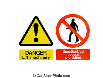 Two Warning Hazard Signs - Two isolated warning hazard...