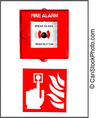 Fire Alarm Button And Sign - Fire alarm button encased in...