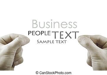 mano, Escoger, Algo, espacio, blanco, insertar, texto, o
