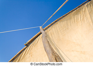 Sail of malagasy traditional outrigger canoe