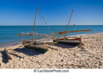 Outrigger canoes - Sakalava outrigger canoes from the...