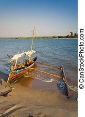 Outrigger canoe - Sakalava outrigger canoe from the...