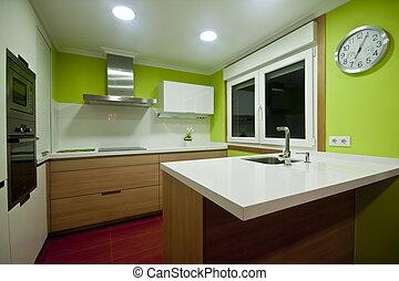 Kitchen Vigo - Modern kitchen with white and wood cupboards...