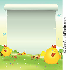 Spring Easter Chicken Background - Illustration of cartoon...