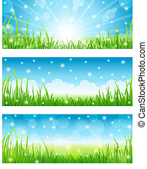 Set of Summer Abstract Background with grass. Vector...