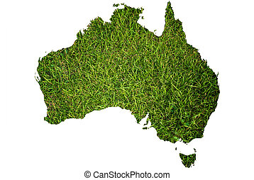 Australia map background with grass - This map made from...