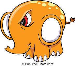 enojado,  vector, Ilustración, elefante