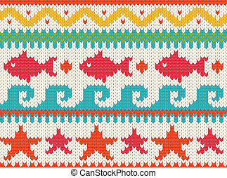 Knitted beach pattern - Seamless knitted beach pattern . EPS...
