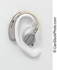 Hearing aid on ear 3d - Hearing aid on white ear...