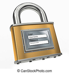 Padlock with login and password 3d - Padlock with login and...