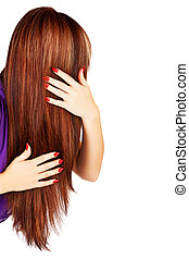 long brown hair - back of the head of young woman with long...