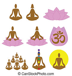 Meditation, spa, yoga icons, logo - Relaxation, meditation...