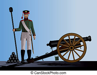 Artilleryman stands next to the cannon. Ancient guns. Vector...