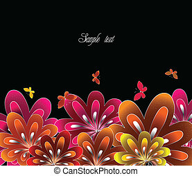 Flower red on black background Vector - Beautiful flower...