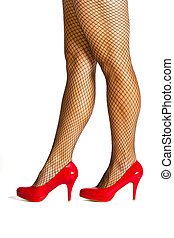 Red high hill shoes with stockings