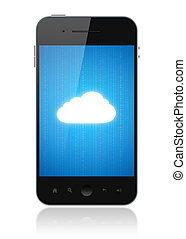 Cloud Computing Connection On Mobile Phone - Cloud computing...