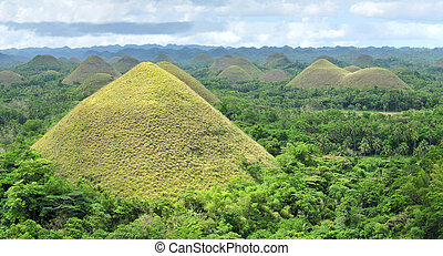Chocolate Hills in Bohol, Philippines are earth mounds...