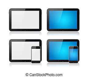 Digital Tablet With Mobile Smart Phone Set - Set of Modern...